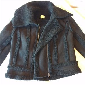 L'Agence Suede Shearling NEW Black Jacket